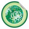 Peeling Sticker of a Green Mirrored Disco Ball clipart