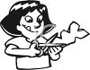 Black and White Cartoon of a Little Girl Cutting Paper clipart