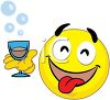 Happy Smiley Face Holding a Cocktail at a Party clipart