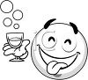 Black and White Smiley Face with a Drink clipart