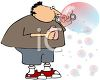 Cartoon of a Fat Kid Blowing Bubbles clipart