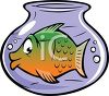 Cartoon of a Large Fish in a Small Fish Bowl clipart