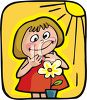 Happy Little Girl Watching a Flower Grow clipart