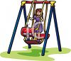 Little Girl Playing on a Swing Set Alone clipart
