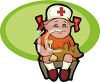 Little Girl Playing Nurse Make Believe clipart