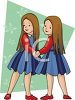 Twin Sisters Holding Hands clipart