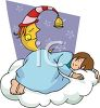 Girl Deep in Slumber on a Cloud with the Man in the Moon clipart