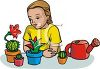 Girl Learning to Plant Cactus clipart