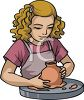 Little Girl Learning to Make Pottery at School clipart