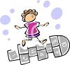 Stick Girl Playing Hopscotch clipart