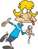 Cartoon of a Female Stand Up Comedian clipart