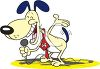 Cartoon of a Canine Stand Up Comedian clipart