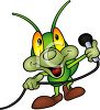 Cute Cartoon Grasshopper Performing with a Microphone clipart