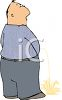 Cartoon of a Grown man Peeing on the Floor clipart
