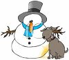 Cartoon of a Dog Peeing on a Snowman  clipart