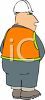 Cartoon of a Workman Peeing  clipart