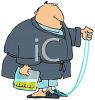 Cartoon of a Fat Guy with a Colostomy Bag Wearing Pajamas clipart