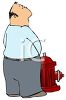 Cartoon of a Grown Man Peeing on a Hydrant clipart