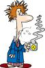 Cartoon of a Man Morning Breath Having a Bad Day clipart