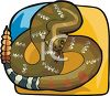 Rattlesnake coiled up and ready to strike as it shakes its rattle clipart