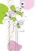 Cute Flowers and a Polka Dot Design with Birds Flying Above clipart