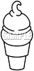 Black and White Soft Serv Ice Cream Cone Icon clipart