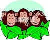 Cartoon of Hear No Evil Monkeys  clipart