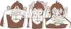 Hear No See No Speak No Evil Monkeys clipart