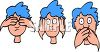 Blue Haired Boy Doing See No Hear No Speak No Evil clipart