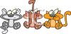 Cartoon Cats Doing Hear No See No Speak No Evil clipart