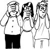 Black and White Cartoon of People Acting Out Hear No Speak No See No Evil clipart