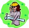 Female Architect Holding Blueprints clipart