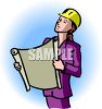 Female Builder Holding Building Plans clipart