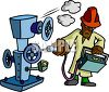 Machine Inspector Checking Gauges on a Piece of Equipment clipart