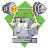 Computer Lifting Weights Depicting a Strong System clipart