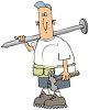 Builder Carrying a Hammer and a Huge Nail Wearing a Tool Belt clipart