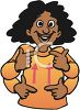 Cartoon of an Ethnic Deaf Girl Signing clipart