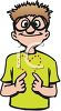 Cartoon of a Deaf Boy with Glasses Signing clipart