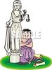 Cartoon of a Greek Lawyer in a Toga Sitting Next to a Statue of Lady Justice clipart