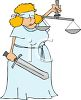 Cartoon of a Woman Dressed up Like Blind Lady Justice clipart
