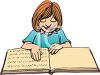 Cartoon of a Blind Girl Reading a Book in Braille clipart