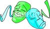 Comedy and Tragedy Masks in Blue and Green clipart