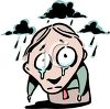 Cartoon of a Gloomy Guy Standing in the Rain with Tears on His Face clipart