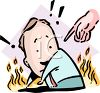 Cartoon of a Man in Hell for Sinning Metaphor clipart
