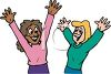 Excited Girls with Their Hands Raised clipart