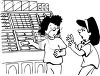 Black and White Cartoon of Two Girls at the Supermarket clipart