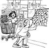Black and White Cartoon of a Boy at the Supermarket with His Mom clipart