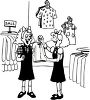 Black and White Cartoon of Twin Girls  Clothes Shopping clipart