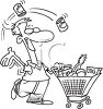Black and White Cartoon of a Happy Man Grocery Shopping clipart