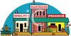 Cartoon of a General Store, Produce Market and Hardware Store clipart